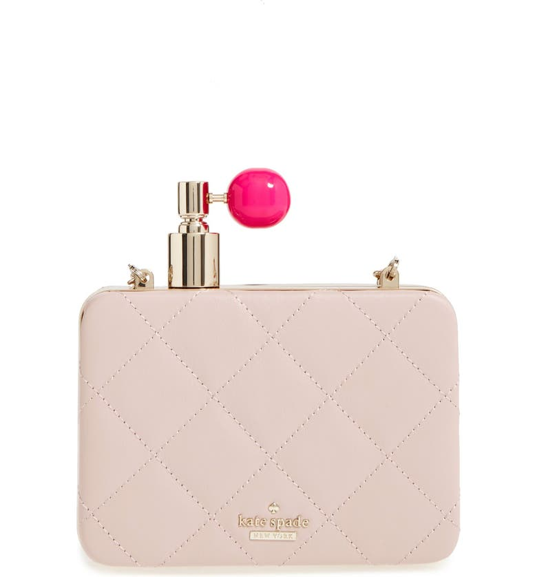 KATE SPADE NEW YORK 'on pointe - perfume bottle' quilted leather clutch, Main, color, 660