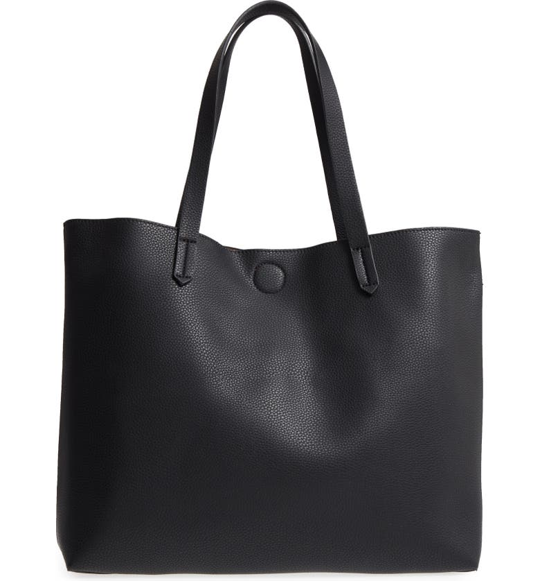 BP. Contrast Lining Faux Leather Tote, Main, color, 001