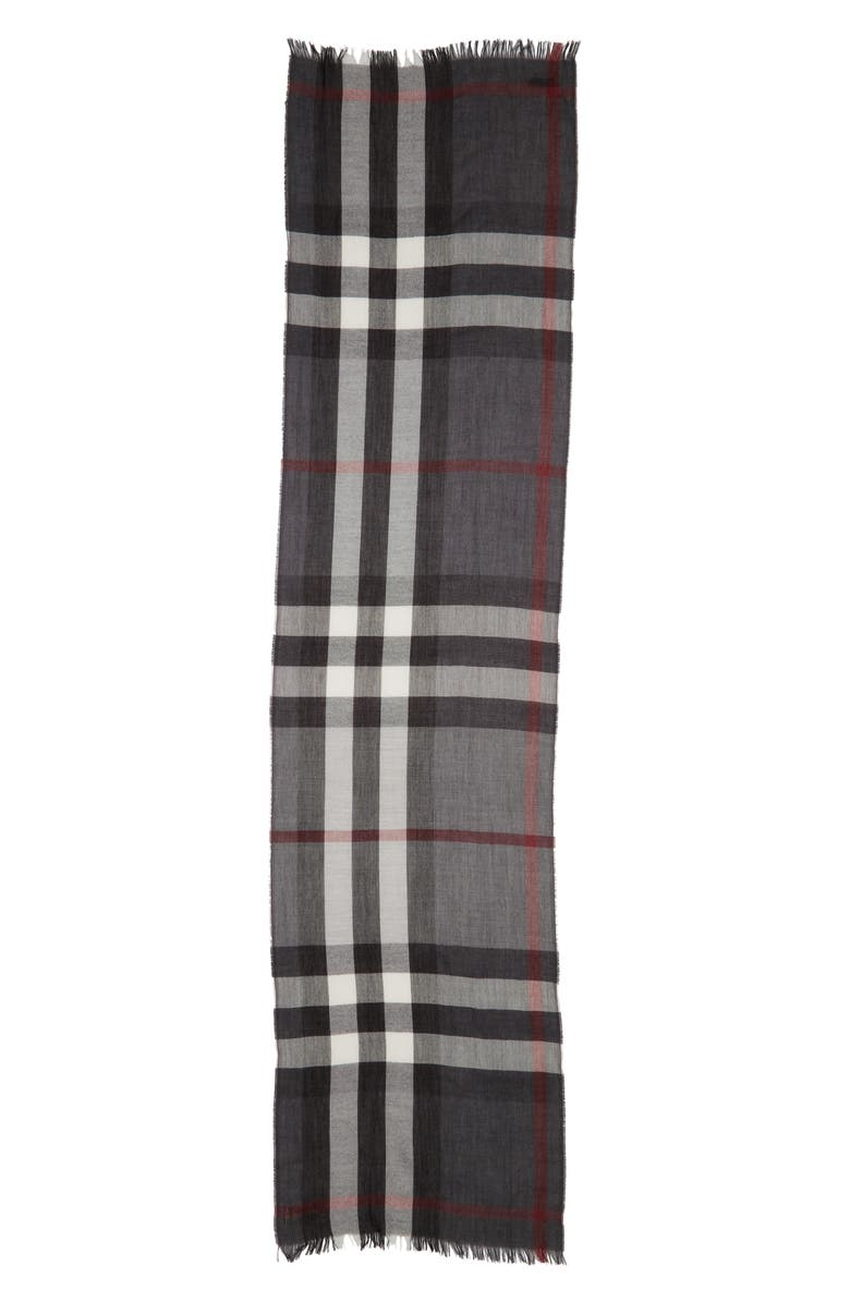 BURBERRY Tonal Lightweight Check Cashmere Wool Scarf, Main, color, CHARCOAL