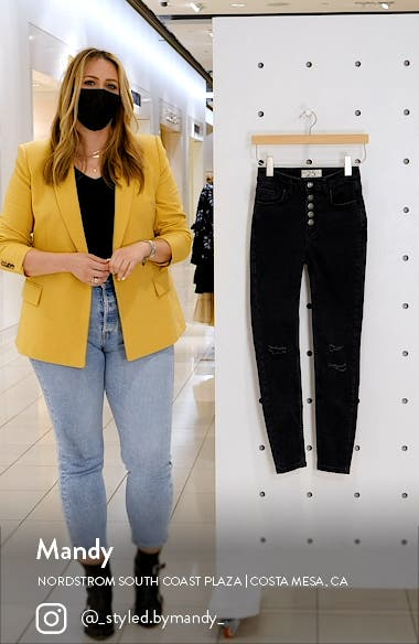 Sabrina Button Front High Waist Super Skinny Jeans, sales video thumbnail