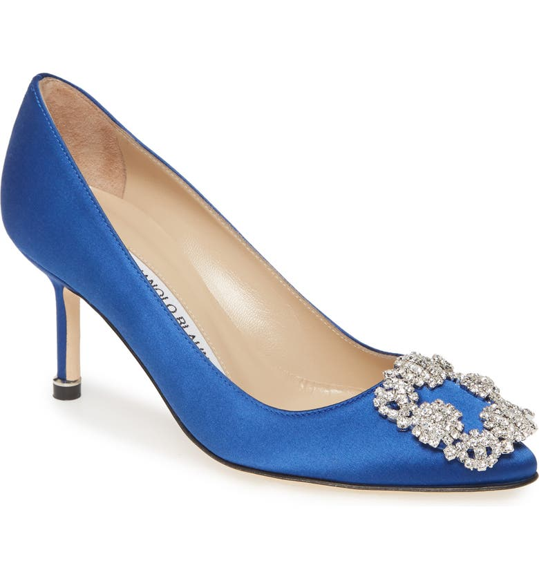 MANOLO BLAHNIK Hangisi Pointed Toe Pump, Main, color, BLUE SATIN/ CLEAR