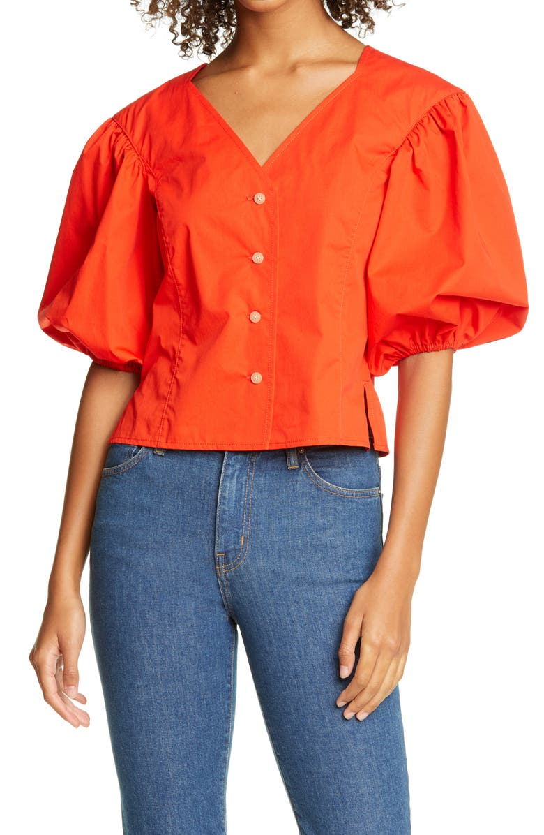 TORY BURCH Puff Sleeve Top, Main, color, 600