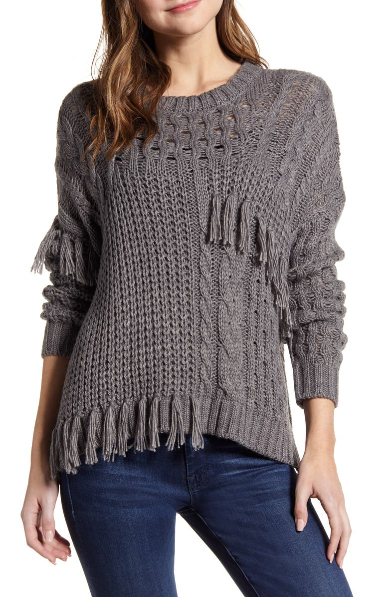 CUPCAKES AND CASHMERE Romy Asymmetrical Cable Knit Sweater, Main, color, 030