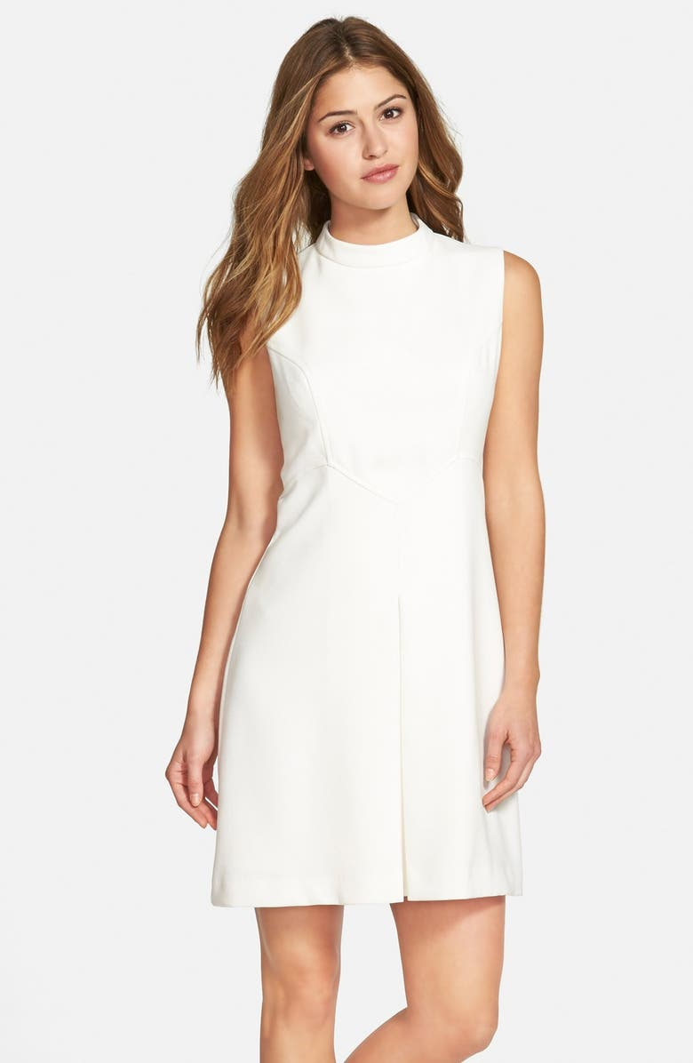 ELIZA J Pleat Detail Sleeveless Crepe A-Line Dress, Main, color, 112