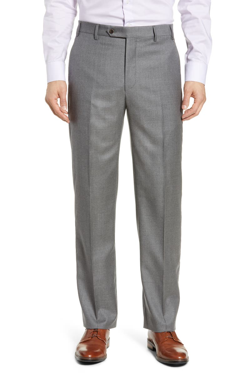 ZANELLA Todd Relaxed Fit Flat Front Solid Wool Dress Pants, Main, color, LIGHT GREY