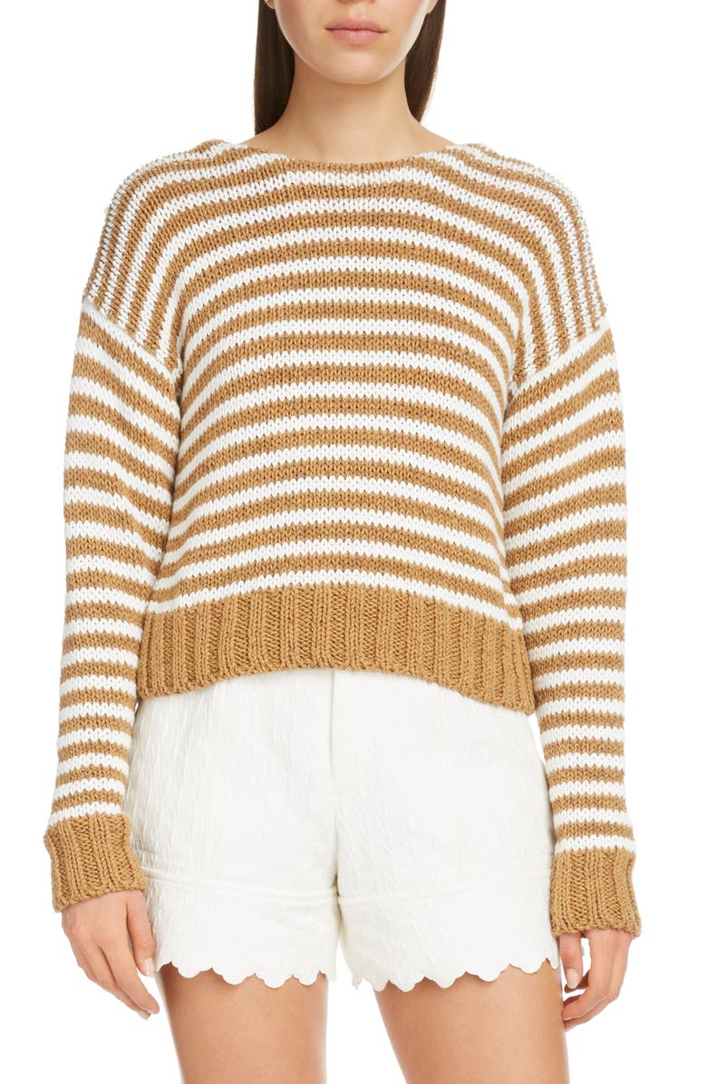 CHLOE Lace Up Stripe Sweater, Main, color, BROWN - WHITE