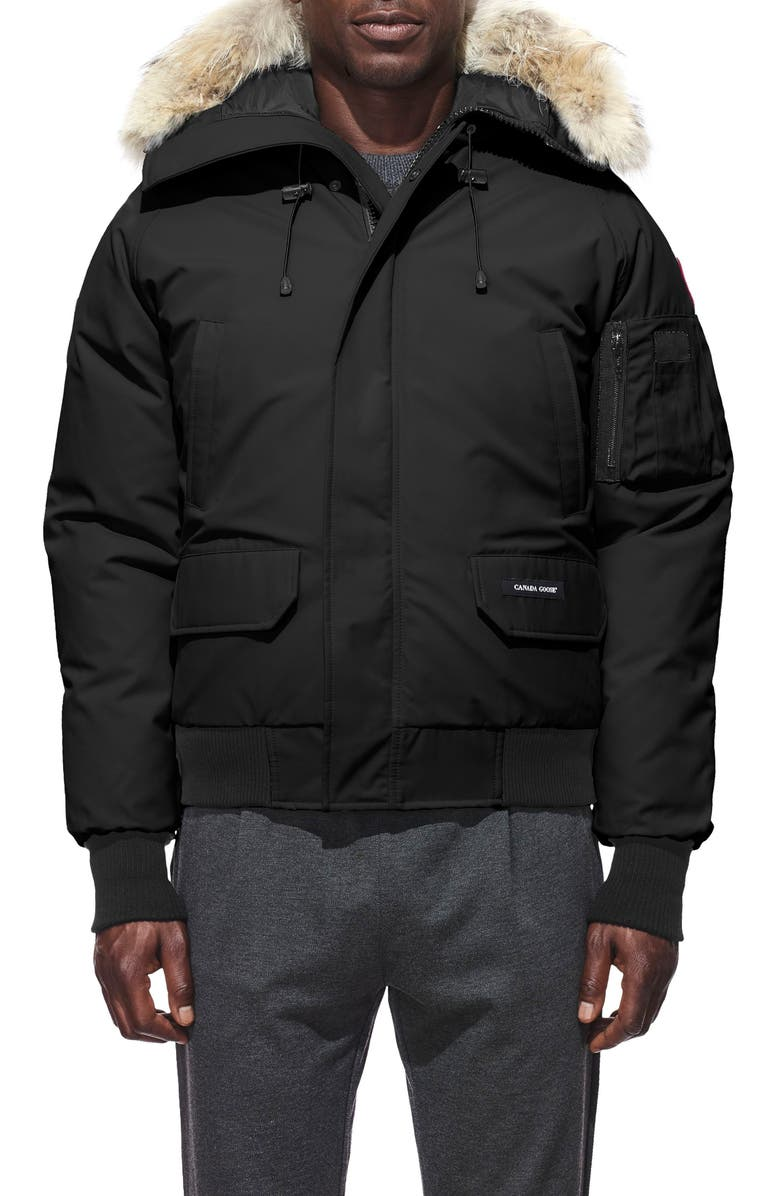 CANADA GOOSE Chilliwack Down Bomber Jacket with Genuine Coyote Fur Trim, Main, color, Black