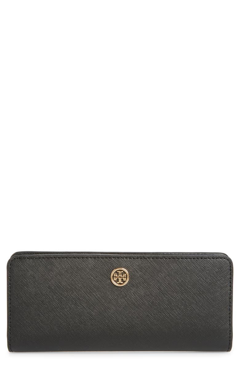 TORY BURCH Robinson Slim Leather Wallet, Main, color, 001