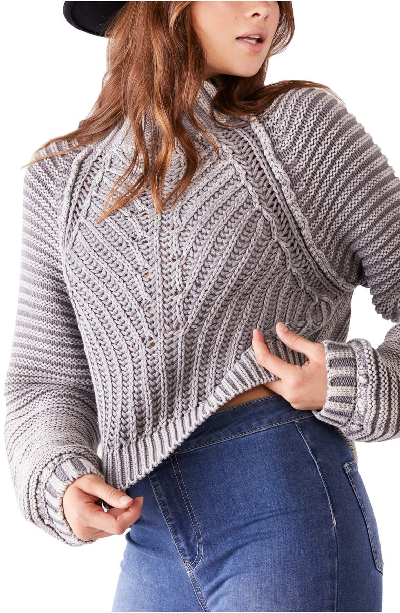 FREE PEOPLE Sweetheart Mock Neck Sweater, Main, color, TUNGSTEN