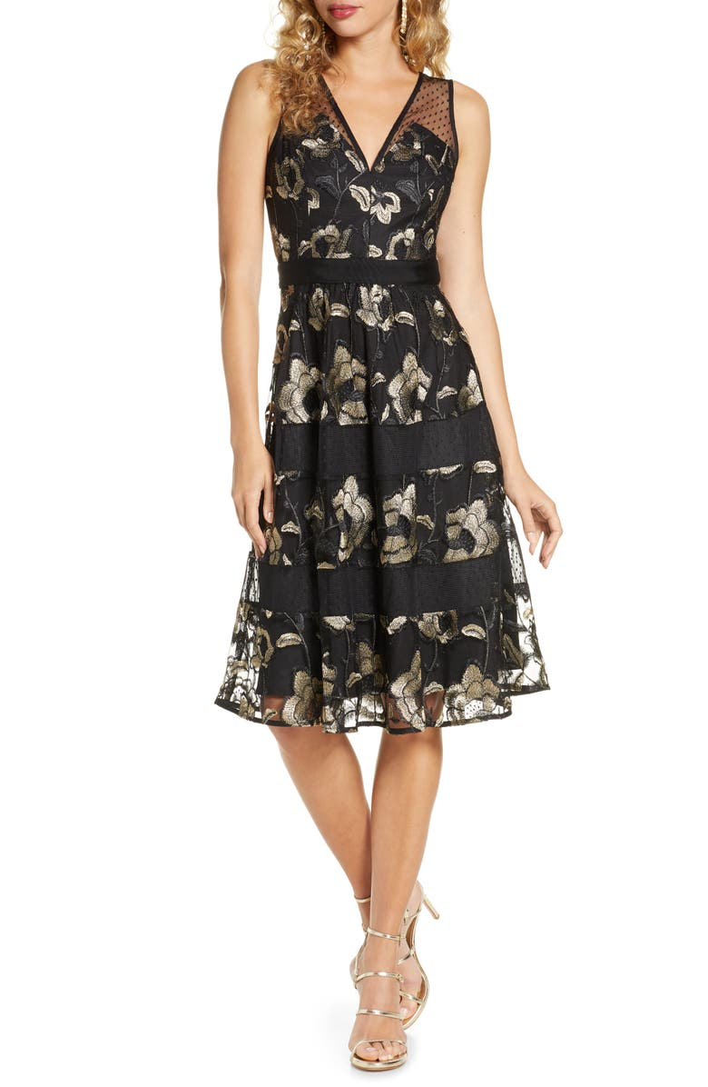 HARLYN Metallic Floral Embroidery Cocktail Dress, Main, color, 007