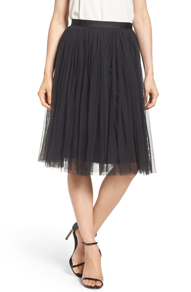 NEEDLE & THREAD Tulle Skirt, Main, color, WASHED BLACK