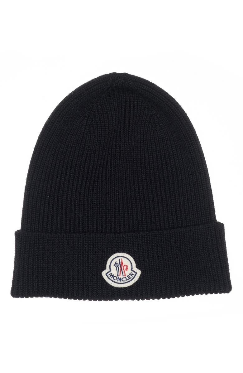 MONCLER Solid Virgin Wool Beanie, Main, color, 001