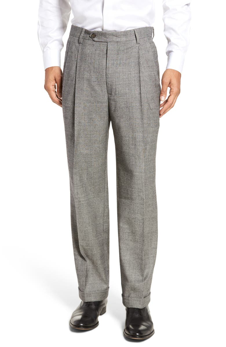 BERLE Touch Finish Pleated Plaid Classic Fit Stretch Wool Trousers, Main, color, BLACK/ WHITE