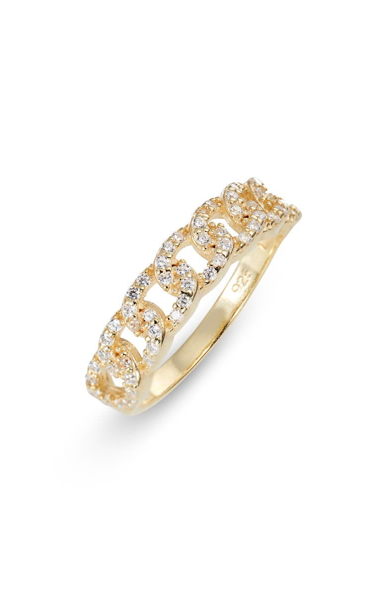 ARGENTO VIVO STERLING SILVER Pavé Chain Ring, Main, color, GOLD