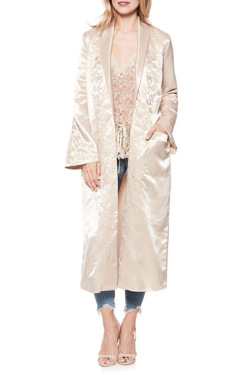 PAIGE Maryella Embroidered Satin Duster, Main, color, SANDY SHELL