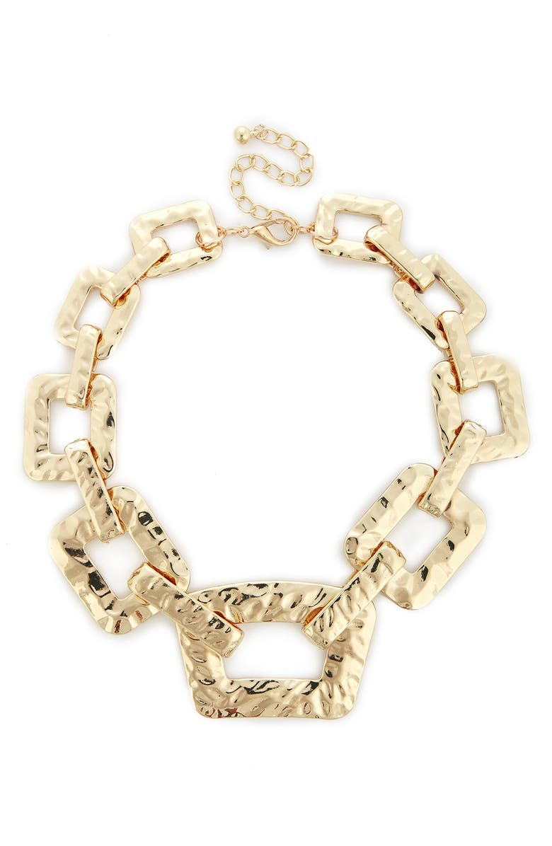 SOLE SOCIETY Textured Oversize Chain Necklace, Main, color, 710