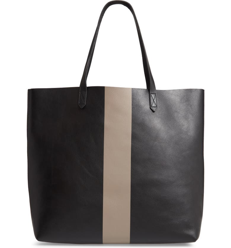 MADEWELL Paint Stripe Transport Leather Tote, Main, color, 005