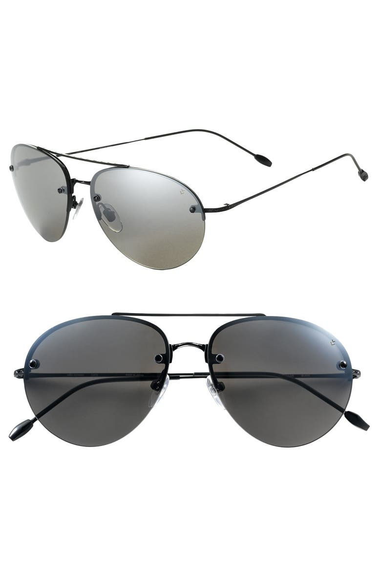 JOHN VARVATOS STAR USA Semi Rimless Aviator Sunglasses, Main, color, 001