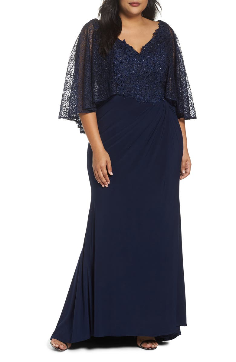 MAC DUGGAL Lace Capelet Column Gown, Main, color, MIDNIGHT