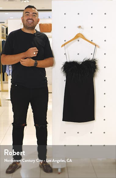 Strapless Feather Neck Cocktail Dress, sales video thumbnail