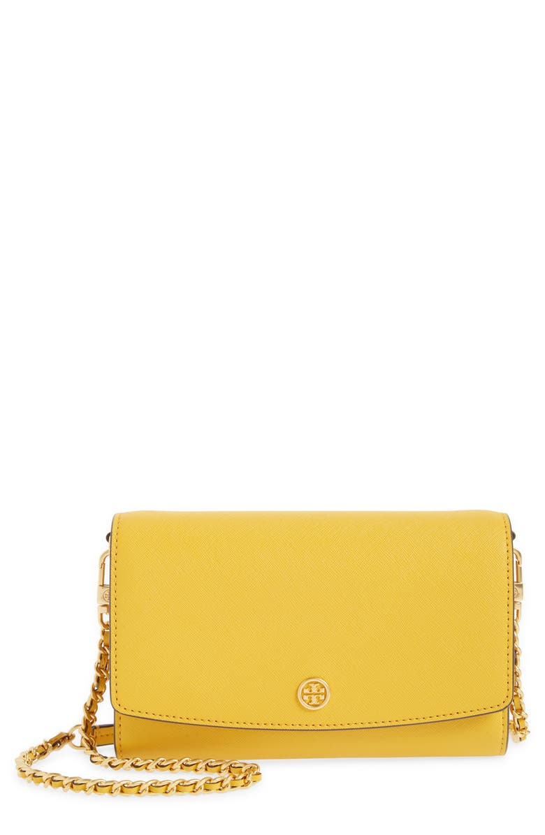 TORY BURCH Robinson Leather Wallet on a Chain, Main, color, GOLDEN CREST/ ROLLED BRASS