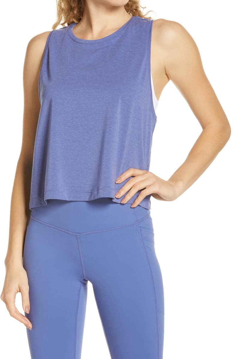ZELLA Work For It Tank Top, Main, color, BLUE MARLIN
