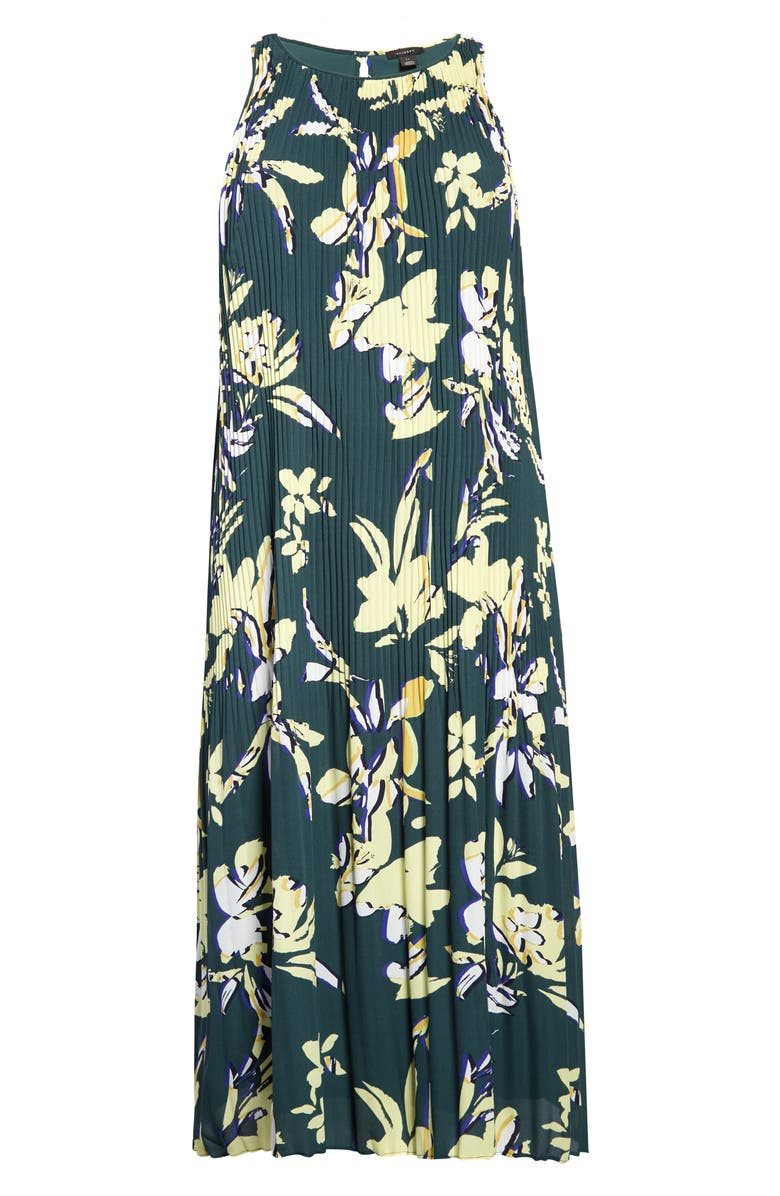 HALOGEN<SUP>®</SUP> Pleated Sleeveless Midi Dress, Main, color, GREEN GABLES FLORAL