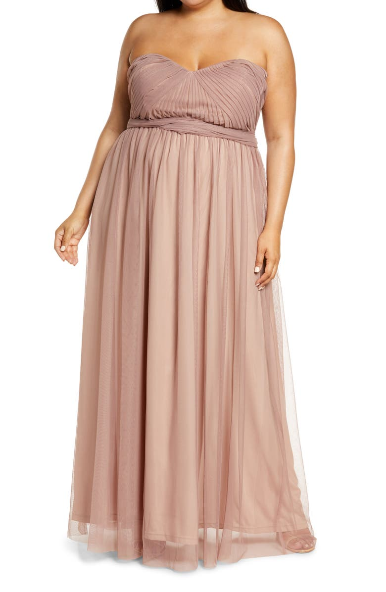 BIRDY GREY Christina Convertible Tulle Gown, Main, color, SANDY MAUVE
