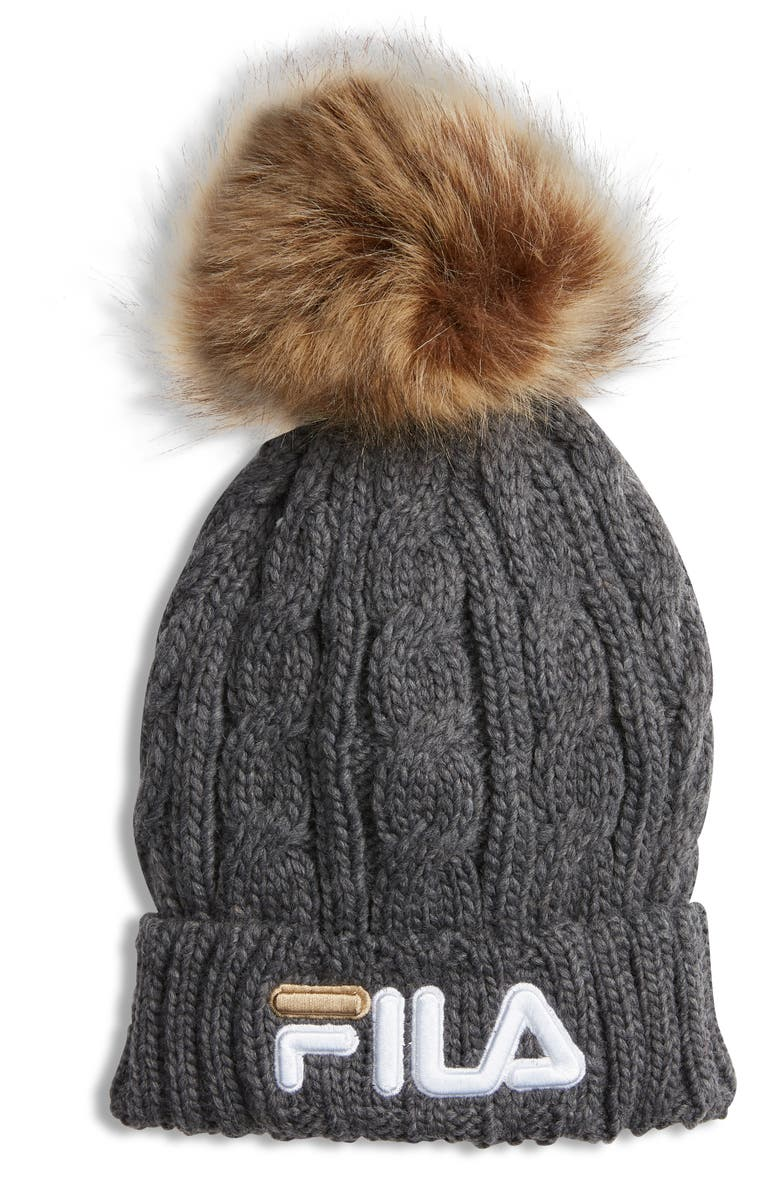 THE HERITAGE COLLECTION FILA Faux Fur Pom Cable Knit Beanie, Main, color, 020