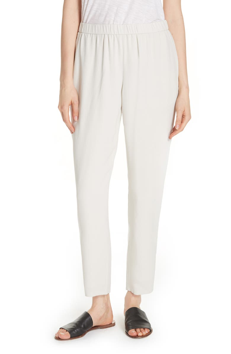 EILEEN FISHER Slouchy Silk Crepe Ankle Pants, Main, color, 270