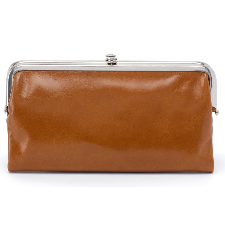 HOBO Lauren Leather Double Frame Clutch, Main, color, TRUFFLE