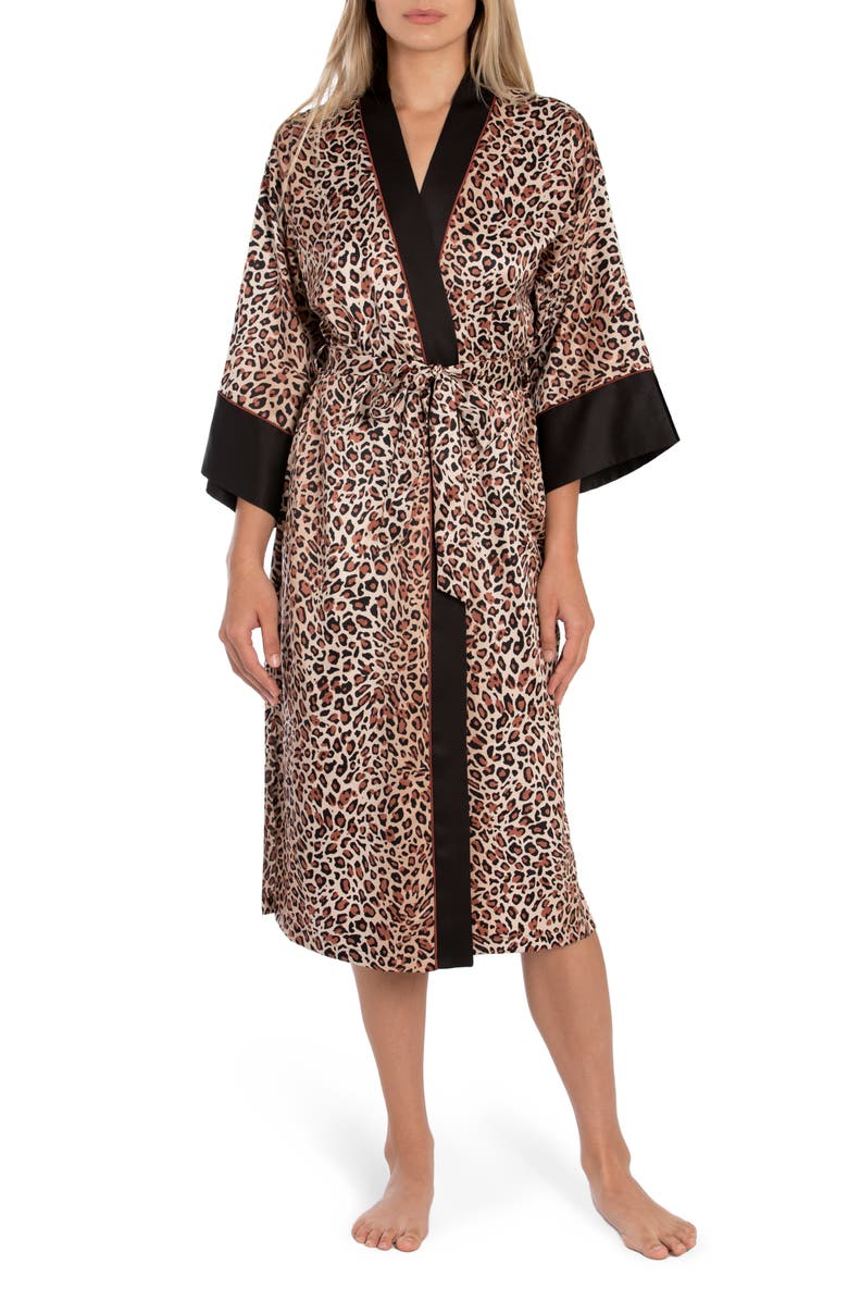IN BLOOM BY JONQUIL Baby It's You Leopard Print Satin Robe, Main, color, NATURAL