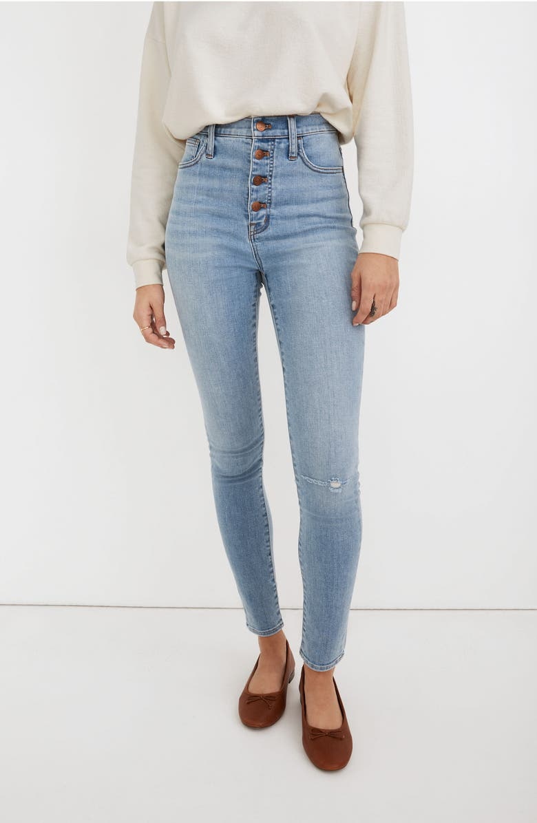 MADEWELL 11-Inch Roadtripper High Waist Button Front Skinny Jeans, Main, color, BECKWITH