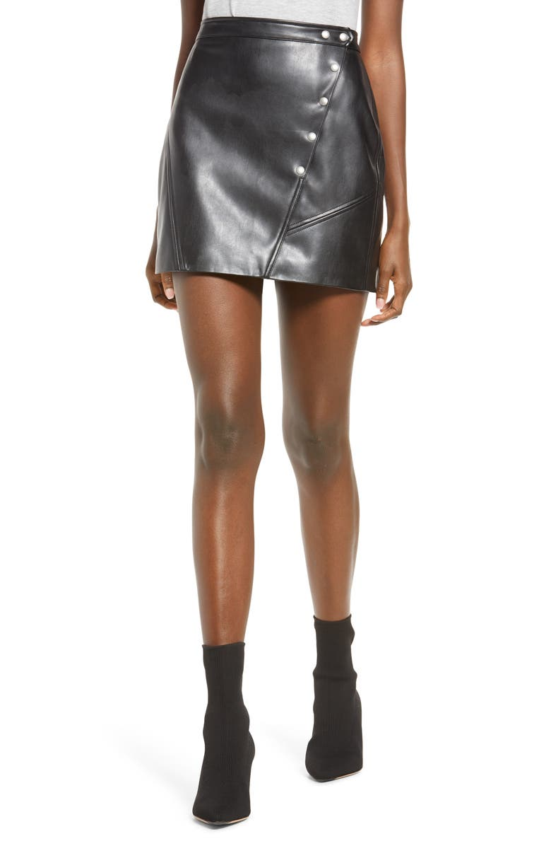BLANKNYC Snap Faux Leather Skirt, Main, color, DAY TRIP
