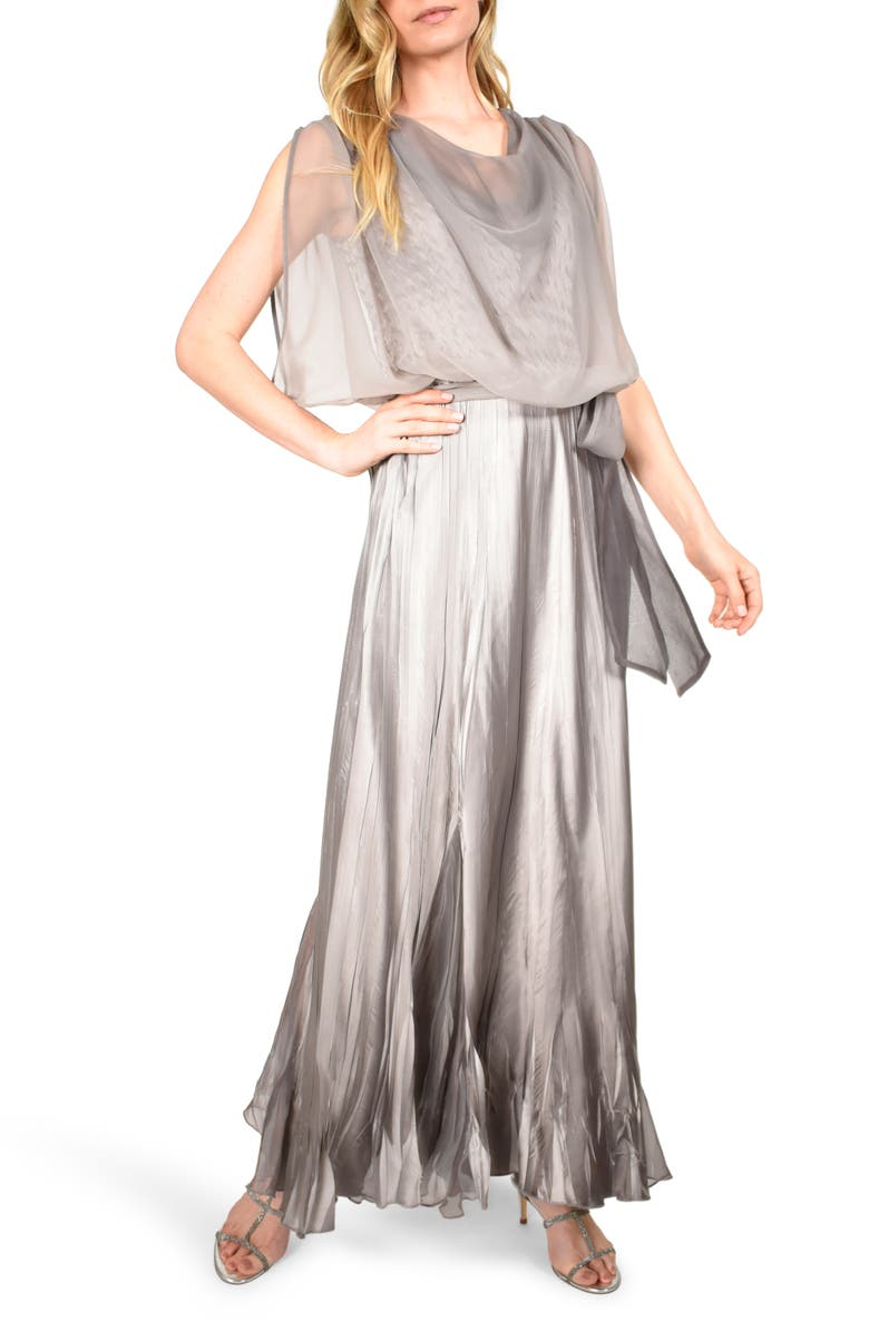 KOMAROV Cowl Neck Popover Gown, Main, color, OYSTER SMOKE OMBRE