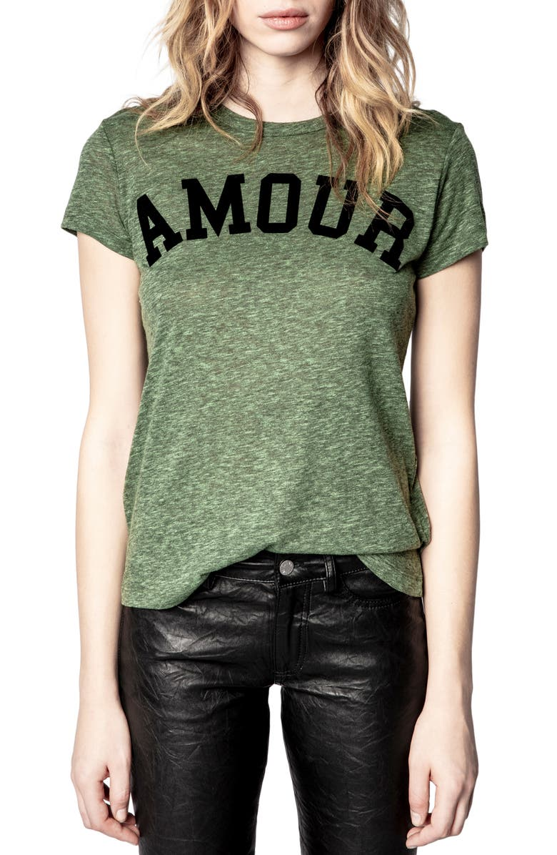 ZADIG & VOLTAIRE Walk Amour Graphic Tee, Main, color, 345