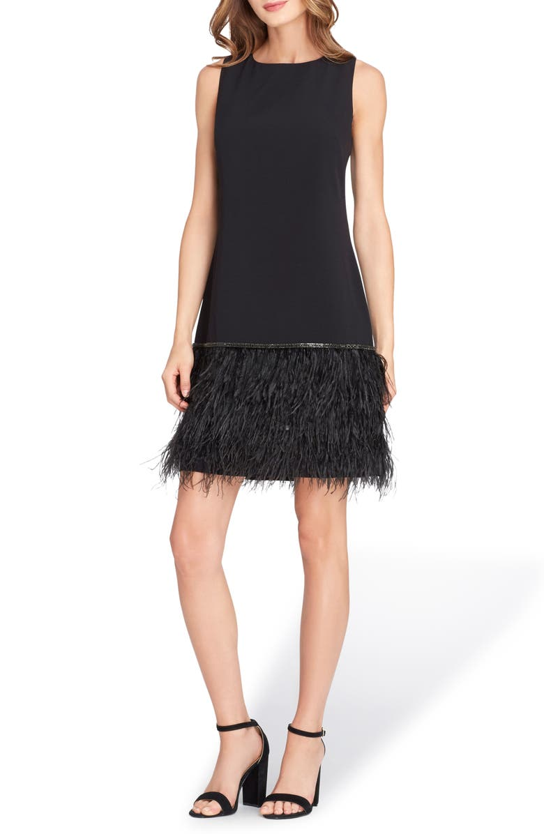 TAHARI Feather Detail Sleeveless Crepe Shift Dress, Main, color, BLACK