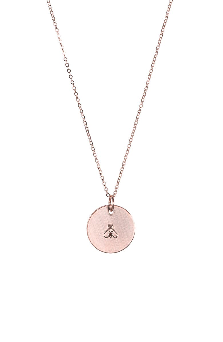 NASHELLE Bee ID Necklace, Main, color, ROSE GOLD