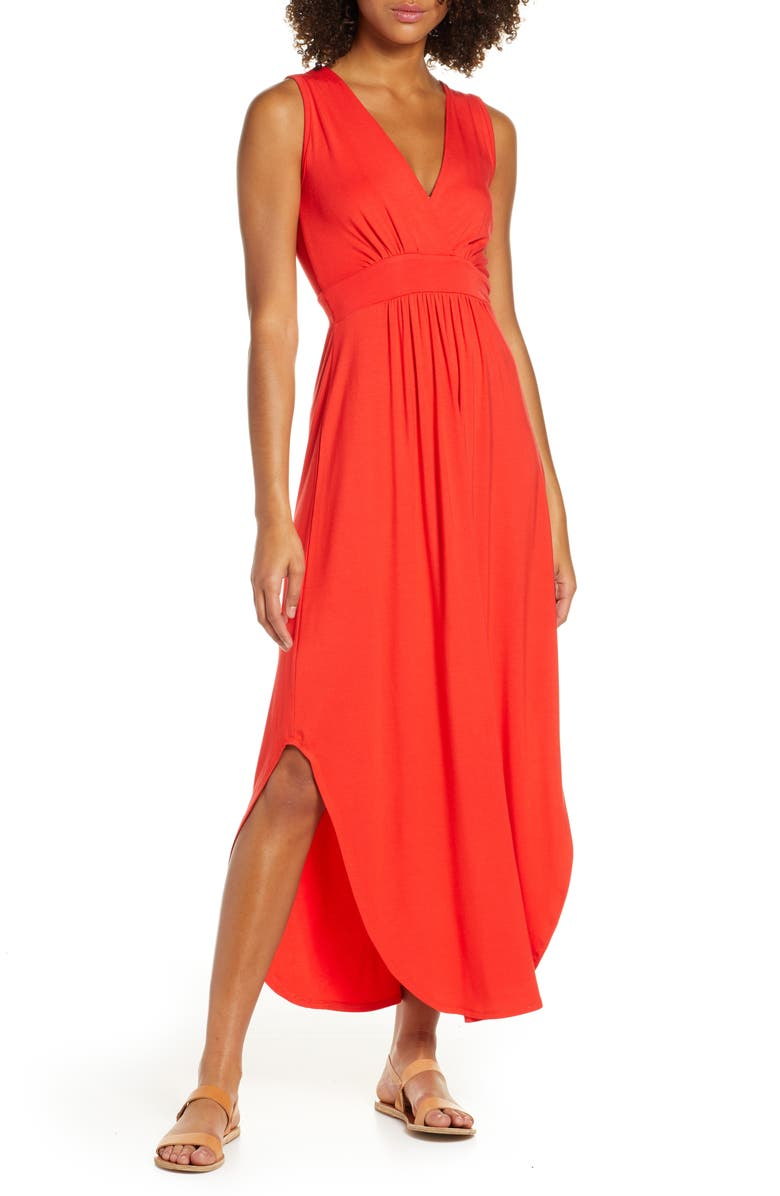 FRAICHE BY J V-Neck Jersey Maxi Dress, Main, color, RED