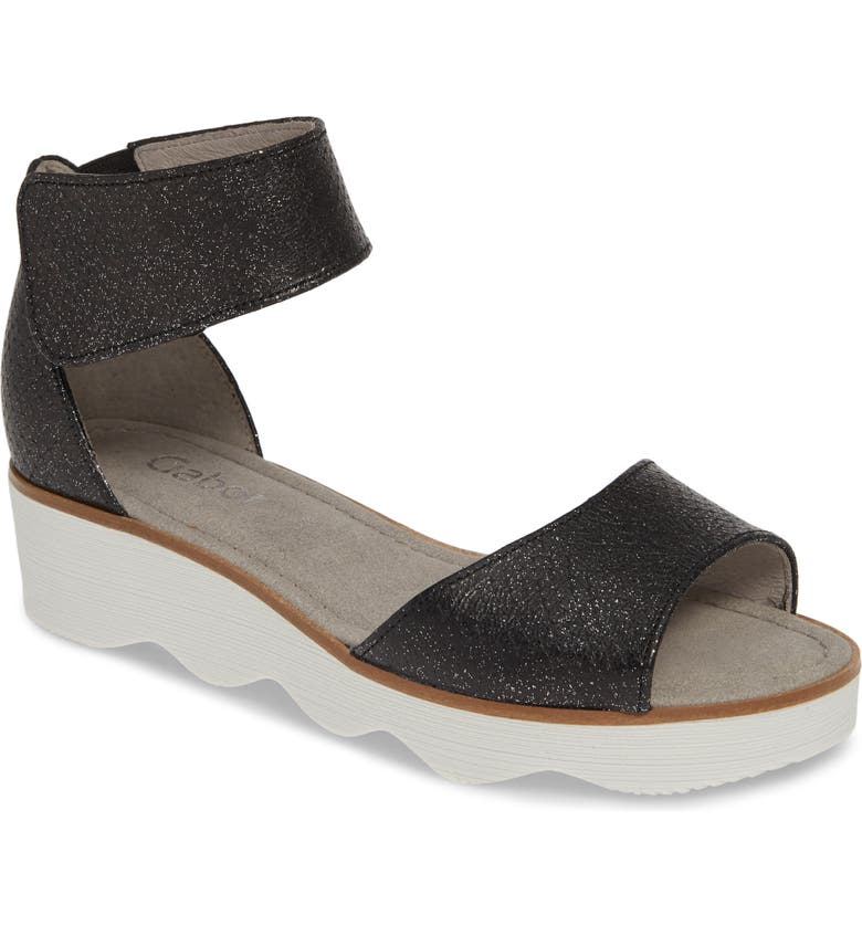 GABOR Wedge Sandal, Main, color, BLACK TEXTURED LEATHER