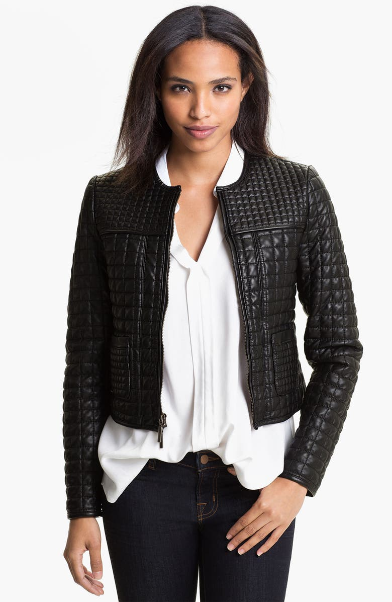 TWO BY VINCE CAMUTO Quilted Faux Leather Jacket, Main, color, RICH BLACK