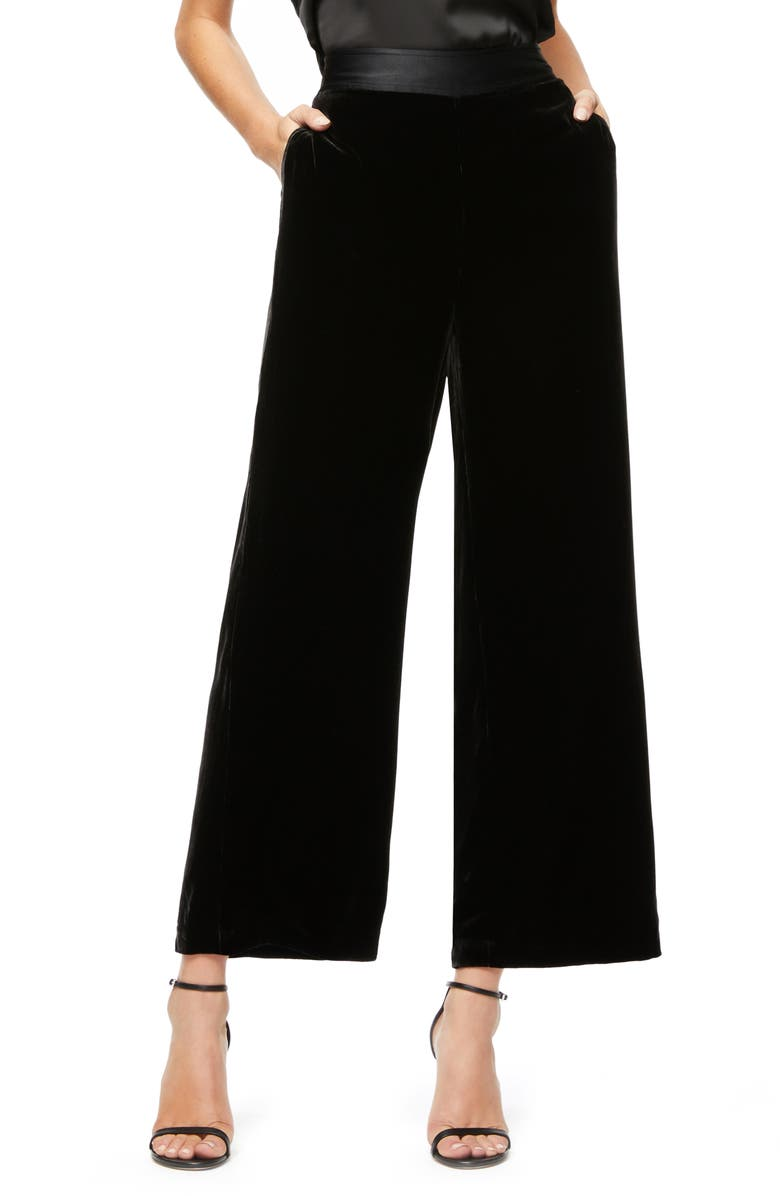 GOOD AMERICAN The Luxe Crop Velvet Pants, Main, color, 001