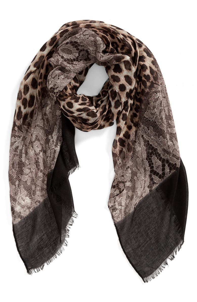 ROFFE ACCESSORIES Animal Lace Scarf, Main, color, Black