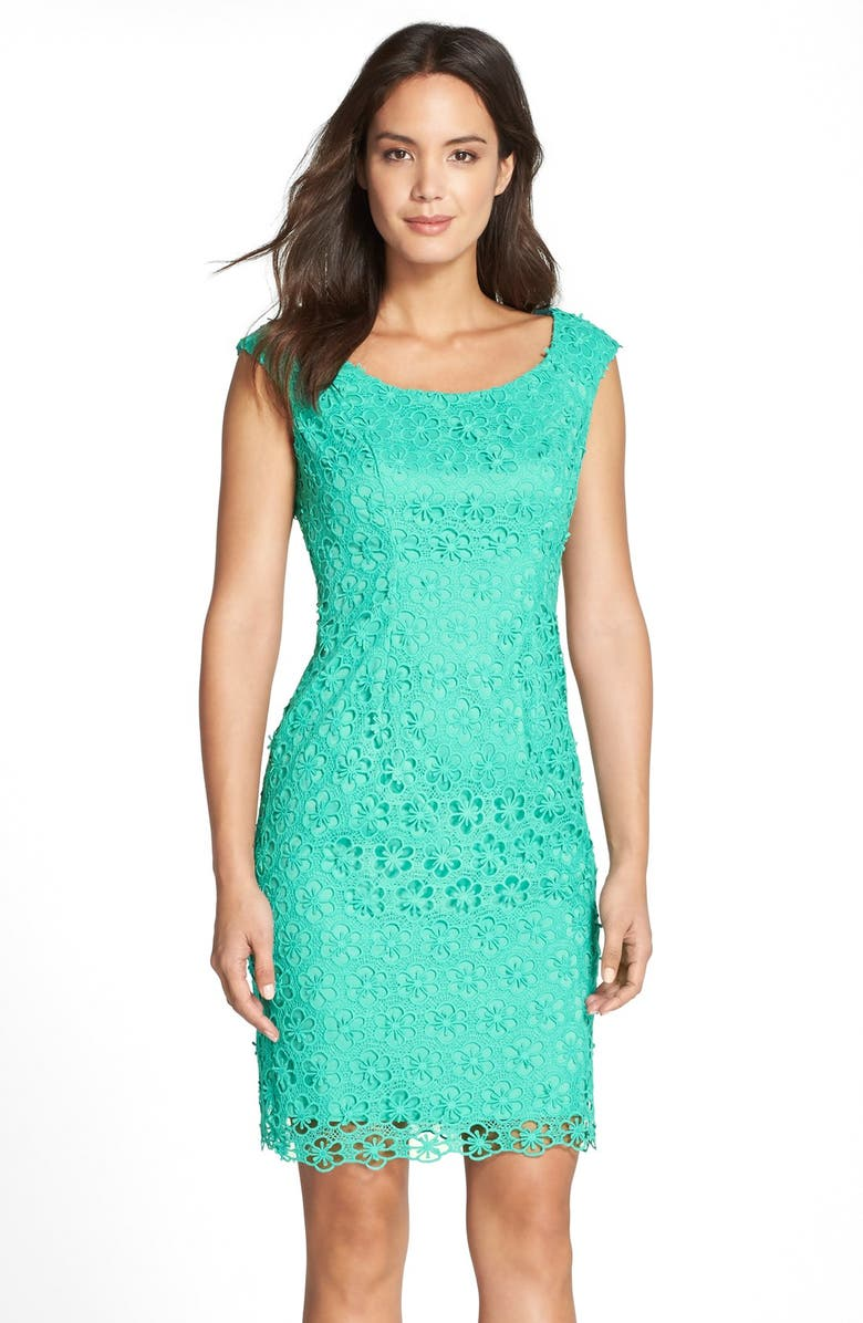 ADRIANNA PAPELL Floral Lace Sheath Dress, Main, color, 401