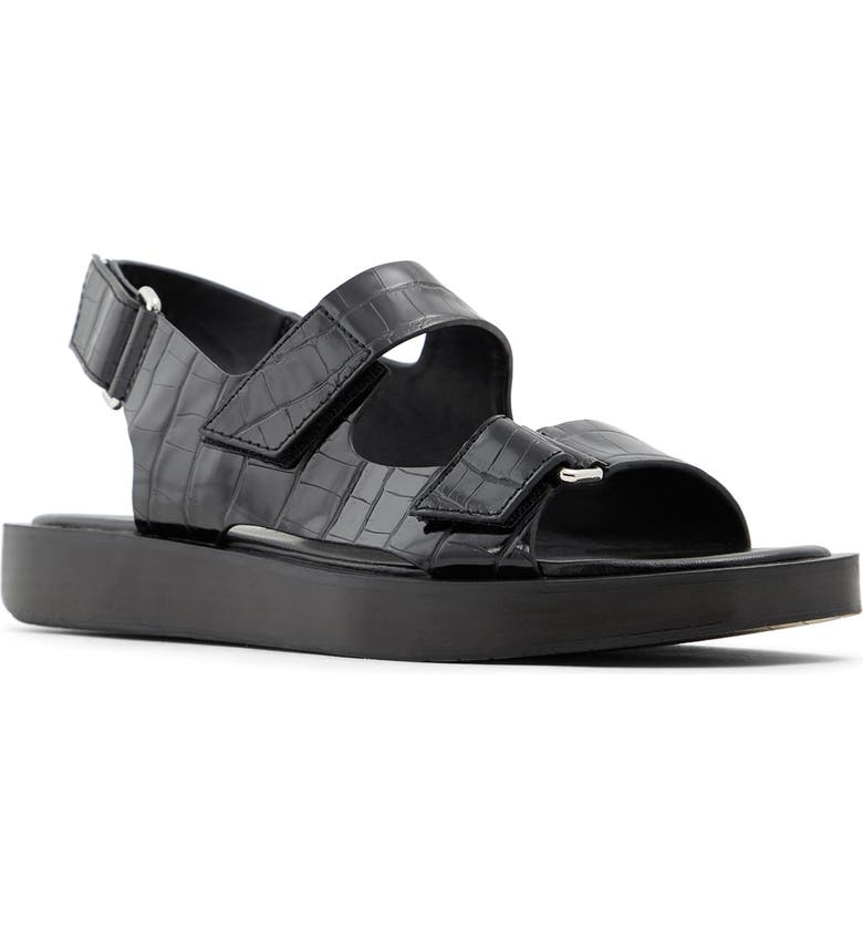 WHO WHAT WEAR Axel Slingback Sandal, Main, color, BLACK FAUX LEATHER