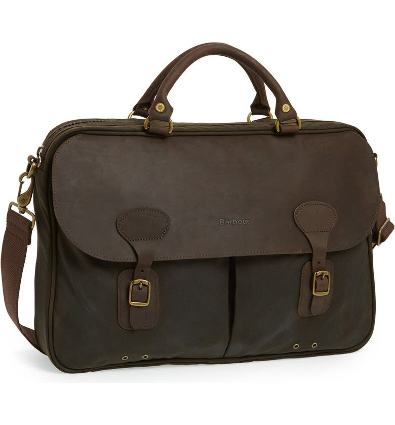 BARBOUR Waxed Canvas Briefcase, Main, color, OLIVE/ BROWN