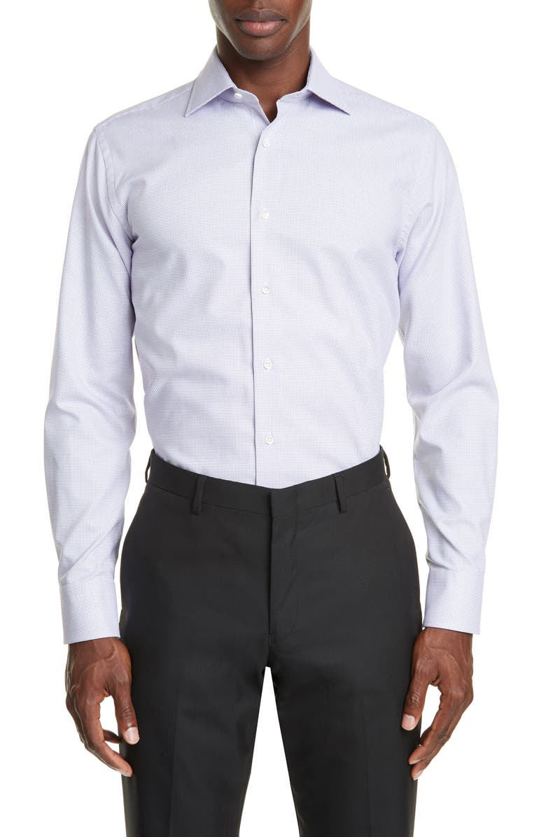 CANALI Regular Fit Check Dress Shirt, Main, color, 530
