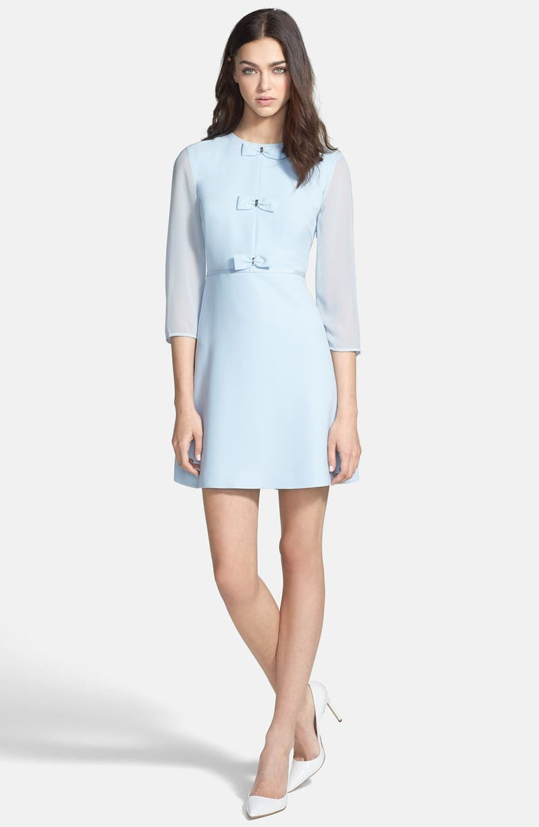 TED BAKER LONDON Bow Detail Stretch A-Line Dress, Main, color, 455