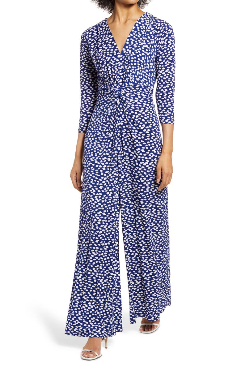 HARPER ROSE Abstract Dot Long Sleeve Jumpsuit, Main, color, NAVY IVORY