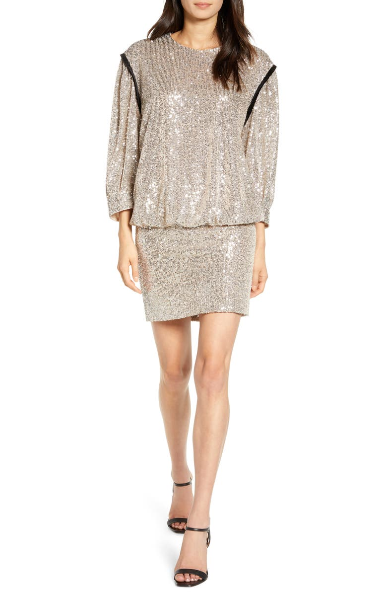 7 FOR ALL MANKIND<SUP>®</SUP> Sequin Long Sleeve Blouson Minidress, Main, color, 021